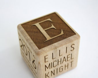 Custom Engraved Baby Block // Newborn Gift // Baby Gift // Baby Name Block // Wooden Block // Personalized Baby Gift // Custom Baby Block