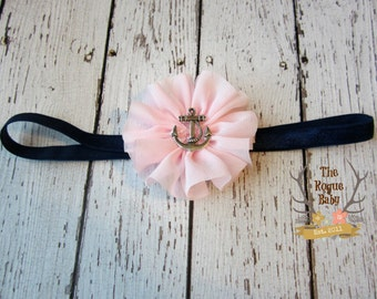 Nautical Anchor Headband -  Light Pink & Navy Blue  - Newborn Infant Baby Toddler Girls Adult