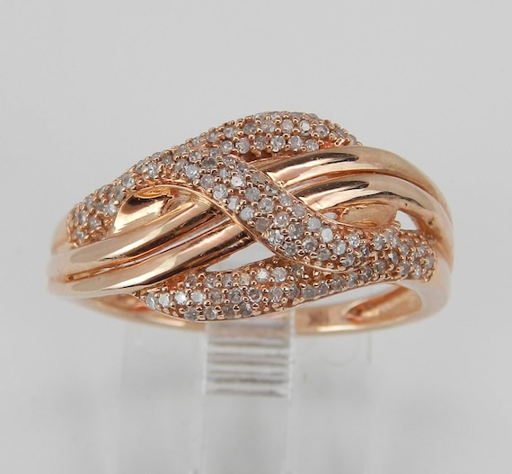 Rose Gold Diamond Right Hand Cocktail Ring Anniversary Crossover Band Size 6.75