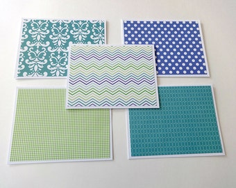 Blank Note Cards, Note Card Set, Blank Cards, Thank You Notes, Stationary, Set of 5 Note Cards with Matching Envelopes, Shades of Blue Cards