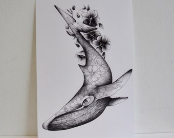 A4 Illustrative Flowery Whale Print Surreal Art