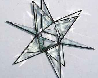 "Large Beveled Glass Moravian Star, Star of Bethlehem, 12"" Christmas Hanging Star Suncatcher, Decoration, Ornament, Holiday Decor, X'mas Gift"