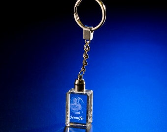 Photo Crystal Key Chain w/ Blue LED Lights, Custom Etching Crystal, Picture in Glass Crystal Cube, Photo Glass Gift by Goodcount