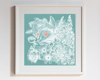 Cats & Flowers Art Print - Fleur de Feline - Peonies, English Rose, Foxglove Flower, Aqua, Gift for Pet Lovers, Wall Art, Gift for Her