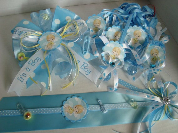 Items Similar To Precious Moments Baby Shower Set For Boys In Blue