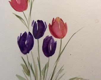 Original watercolor tulips