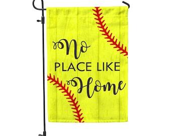 """No Place Like Home Softball Garden Flag 12""""x18"""""""