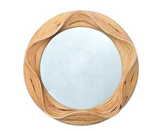 Round wall mirror - round mirror - Bathroom mirror - Round wooden mirror - Wall mirror - Wooden mirror - Wooden decorative mirror