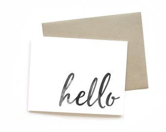 Hello | Card || Greeting Card | Friend Card | Simple Card | Brush lettering | Watercolour | Just Because Card | Black and White