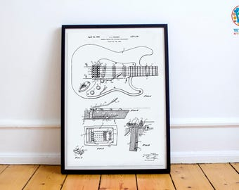 Fender Guitar Poster / Wall Art / Patent design # 2741146 - Gift for Music Fans