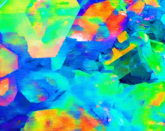 Abstract art from quartz crystal formation - lime green and orange - various sizes - LIMITED EDITION of 9