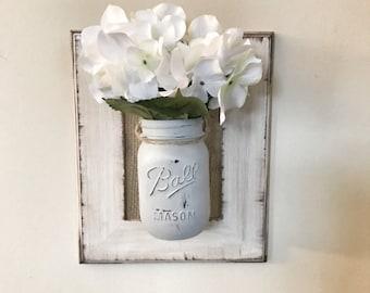 Mason Jar Wall Decor, Mason jar sconce, Mason Jar, Wall hanging, Farmhouse decor, Rustic decor