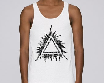 Man hand screen printed tank top / Triangle / White