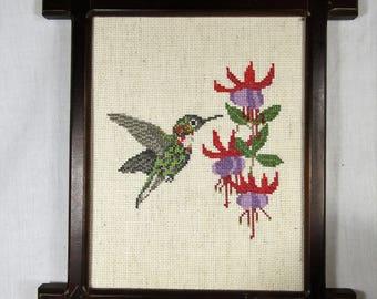 Vintage Hummingbird and Flowers Framed Needlework Wall Hanging