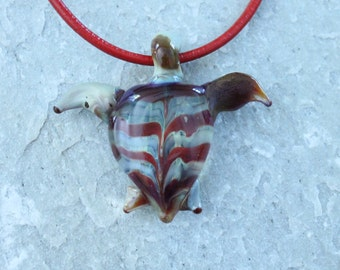 SALE Handmade Glass Turtle Pendant Necklace Red Striped