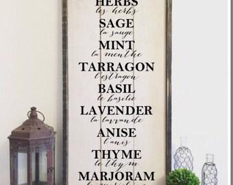 Herbs sign, framed shiplap, vintage wood sign