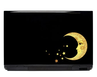 Moon and Stars Vinyl Laptop or Automotive Vinyl decal | Moon stickers crescent moon decal laptop sticker macbook decal crescent moon