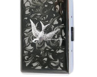 Swallow Metal Cigarette Case Silver Inlaid in Hand Painted Enamel Black Ink Swirl Design with Color and Personalized Options