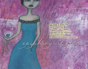 """8"""" x 10"""" Poem Wall Decor - """"Heart-Follower"""" - Fine Art Giclee Print - Bright Pink Turquoise, Short Black Hair, Traveling Woman, Found Poetry"""