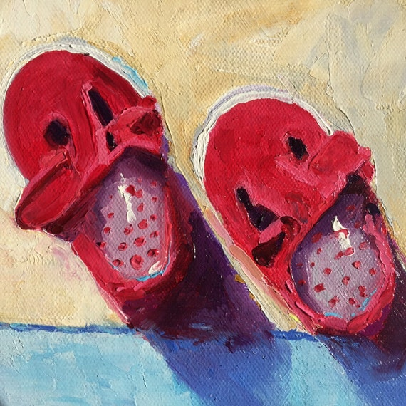 Small Oil Painting, Small Nursery Painting, red shoes, baby shoes