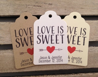 Wedding Gift Tags - Love Is Sweet - Wedding Favor Tags - Customizable Personalized (WT1455)