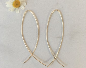 Thin Threader Earrings - 14k Gold Filled - Free Shipping - Laurane Elisabeth Designs - Handmade in the USA