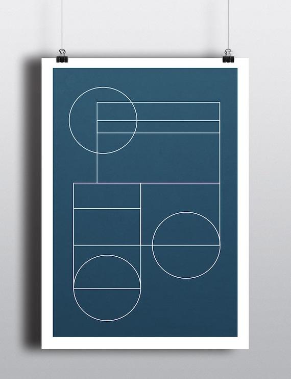 BLUE GEO // poster Abstract, 12x18, minimalist art print, geometric print, mid century, Scandinavian style, bleu, circles