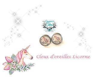 pink flowery unicorn earring set hypoallergenic stainless steel.