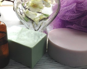 L'abeille Creations shea butter soap in 5.0 round bars or 4.5 ounce rectangle bar in various fragrances