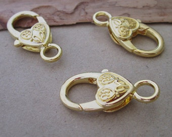 10pcs gold color Love Heart Lobster Clasps 12mmx26mm