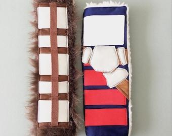 Star Wars Han Solo and Chewbacca Inspired Handmade Custom Seat Belt Cover |Han Solo Corellian Bloodstripe Seat Belt Pad | Chewbacca Seatbelt