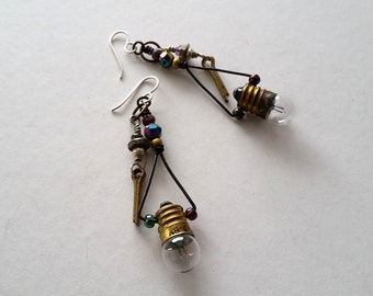 Upcycled Light Bulb Earrings, Assemblage Earrings, Industrial Chic Earrings