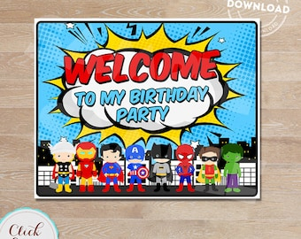 Superhero Welcome Sign, Super Hero Birthday Sign, Superheroes Birthday Party Sign, Door Sign, Birthday party decorations INSTANT DOWNLOAD
