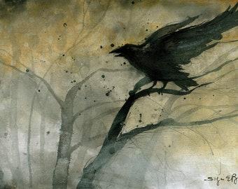 Crow art - Ink on 8x12in canvas, A4, 21x30cm - gloomy foggy autumn forest