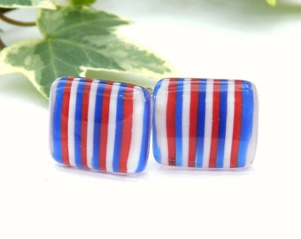 Red White and Blue Fused Glass Cufflinks, Fused Glass Mens Jewellery, Patriotic Cuff Links, 4th July Gift