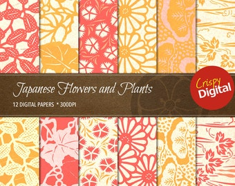 Japanese Flowers and Plants Digital Papers 12pcs 300dpi Digital Download Collage Sheets Asian Scrapbooking Printable Paper