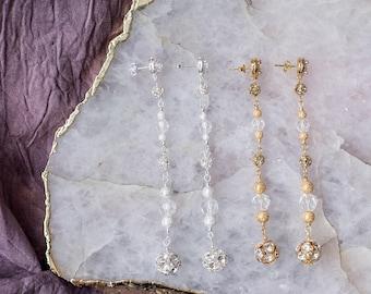 Gold Crystal Drop Earrings, Long Shoulder Grazing Earrings, Modern Bridal Earrings, Silver Bridesmaid Earrings, Prom Earrings, Clear Crystal