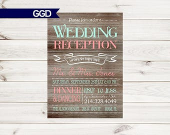 Rustic Wedding Reception Only Invitation on Wooden Background, Reception Only Invitation, reception, printable invitation-Print Your Own