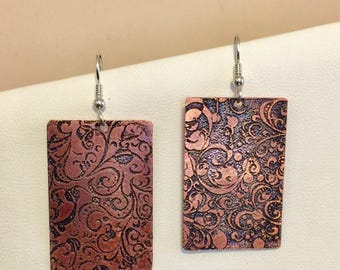 Copper etched with black accent color earrings, sterling silver earwires