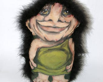 Handpainted Troll, Soft Sculpture, Original hand painted, Troll, on Canvas, Home decor,  Norwegian Troll
