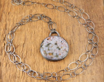 Ocean jasper necklace, long stone necklace, reversible pendant, one of a kind, sterling silver, large stone with orbs, salmon pink, white.