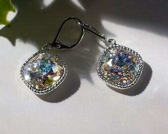 Aurora Borealis Patina Rainbow Earrings,Swarovski Crystal Confetti Leverback,Drop Square Rainbow Earrings,Rounded Square,12mm,Wedding