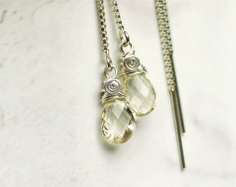 Oregon Sunstone Threader Earrings   Clear Champagne Pear Briolettes   Sterling Silver Box Chain   Petite Chain Drop Dangles   Ready to Ship