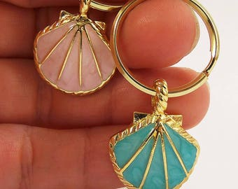 CLEARANCE SALE, seashell keychain, sea shell key chain, sea shells, gold mermaid party favors, pink and gold, blue and gold, beach party