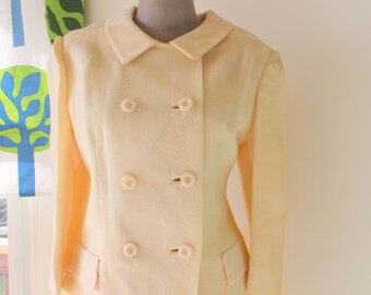 1960s Vintage Pastel YELLOW Pencil Skirt with Jacket..size medium..retro. colorful skirt. pencil skirt. jackie o. mod. classic. 1960s 1970s