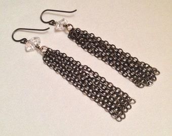 King of Cups Herkimer Diamond Gemstone Chain Tassel Niobium Earrings | Handmade Nickel Free Earrings | Witch Minimalist Tarot Avant Garde