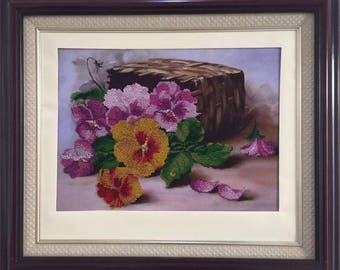 "Picture from beads, embroidery with beads, ""Bouquet of flowers of a pansy"""