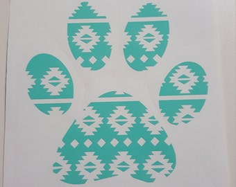 Aztec pattern paw print decal