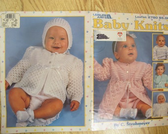 Baby Knits by C. Strohmeyer / Leisure Arts Leaflet 2780 / baby cardigan knitting patterns