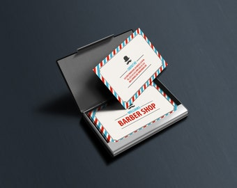 Barber business card etsy classic barber shop business cards template psd instant download colourmoves
